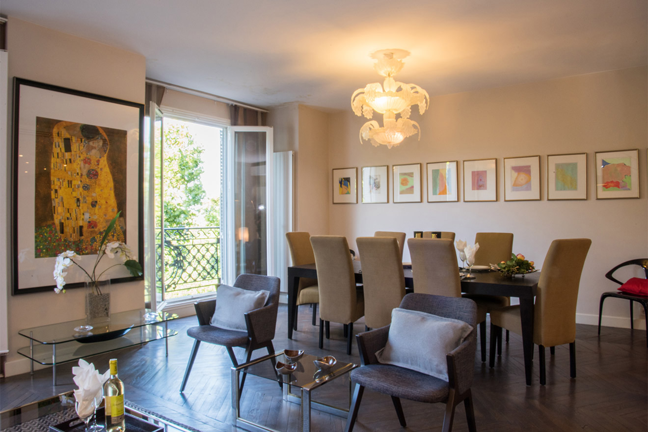Large open plan living and dining area of the Viognier vacation rental offered by Paris Perfect