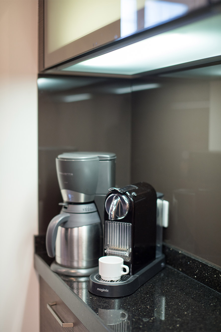 Nespresso coffee machine and a drip coffee machine in the Viognier vacation rental offered by Paris Perfect