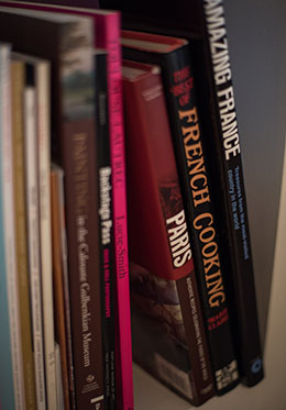 Great selection of Paris themed books in the Carménère vacation rental offered by Paris Perfect