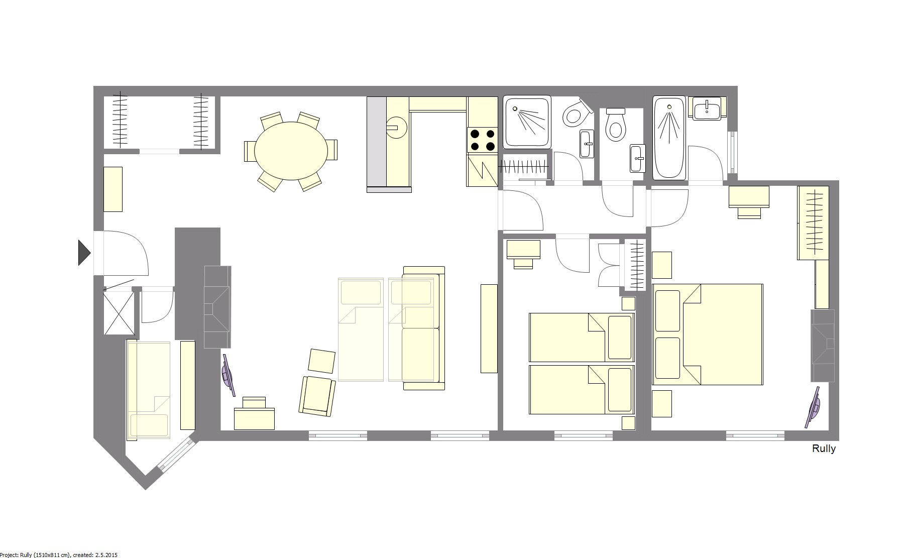 Rully Paris Apartment Floorplan