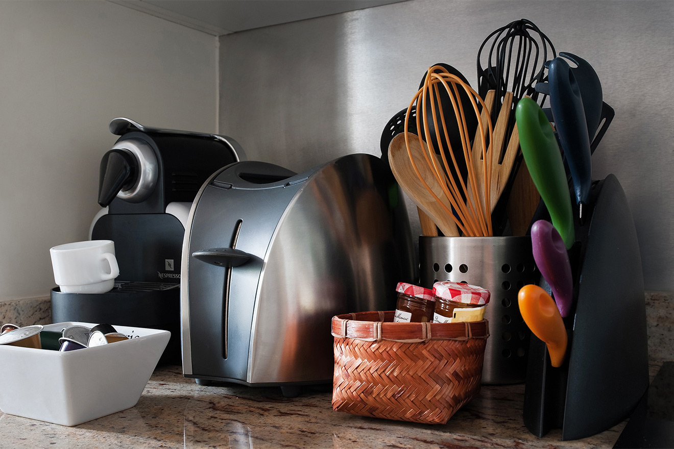 Nespresso machine and toaster in the Saint Amour vacation rental offered by Paris Perfect