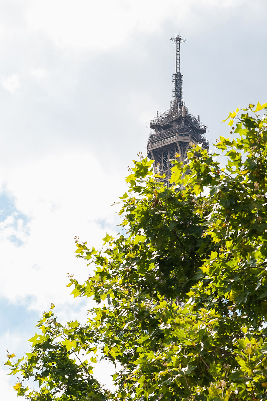 The Eiffel Tower peaks out in summer at the Saint Amour vacation rental offered by Paris Perfect