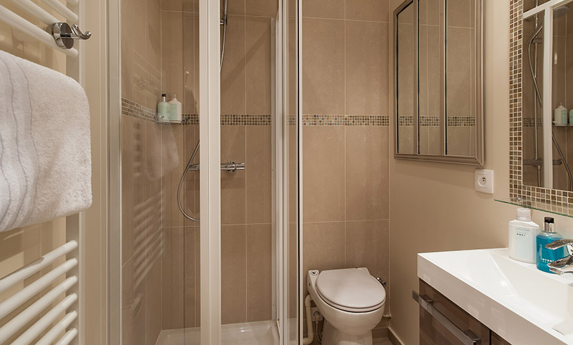 Bathroom with shower, toilet and sink in the Saumur vacation rental offered by Paris Perfect