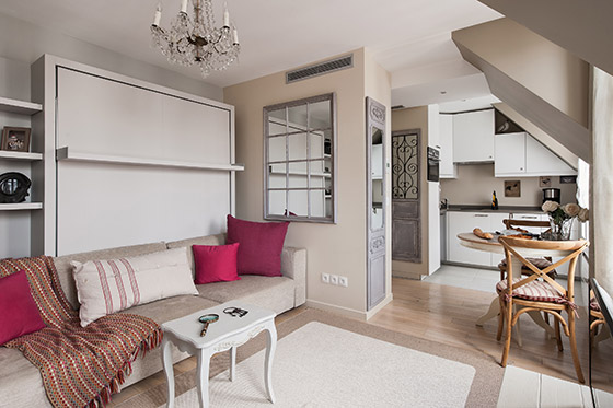 Open plan design creates lots of space in the Saumur vacation rental offered by Paris Perfect