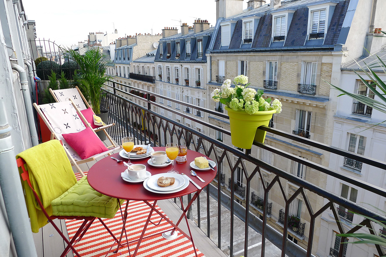 Balcony is long enough for small bistro table and chairs in the Saumur vacation rental offered by Paris Perfect