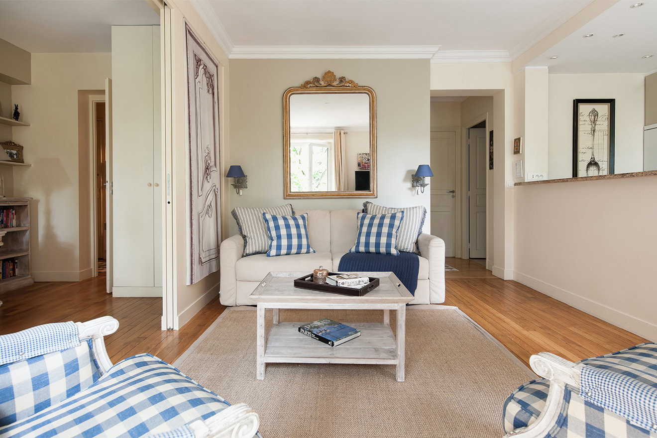 Living room features a comfortable sofa bed in the Saint Julien vacation rental offered by Paris Perfect