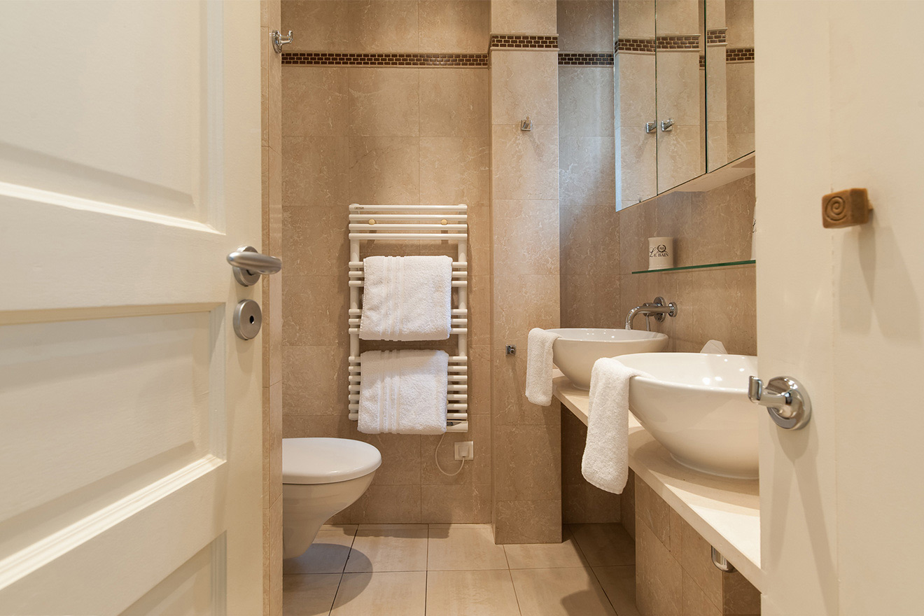 En suite bathroom with shower, sinks and toilet in the Saint Julien vacation rental offered by Paris Perfect