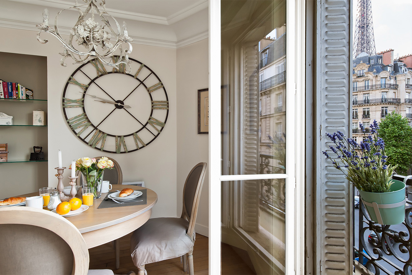 View of the Eiffel Tower from the kitchen and dining area in the Volnay vacation rental