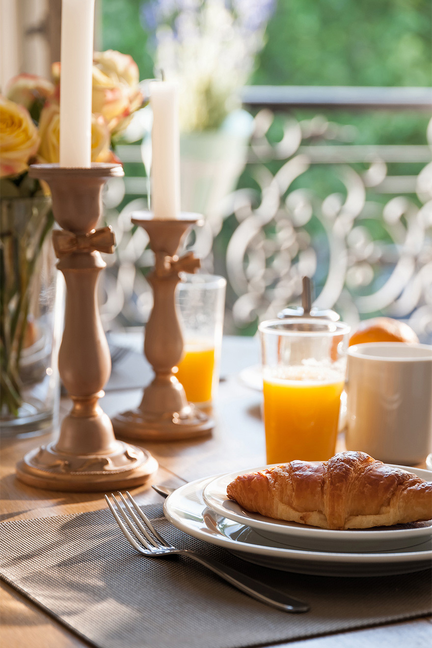 Fresh croissants for breakfast in the Volnay vacation rental offered by Paris Perfect