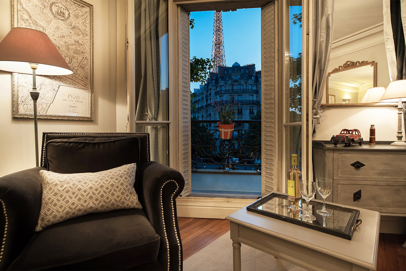 Unforgettable views of the Eiffel Tower from the Volnay vacation rental offered by Paris Perfect