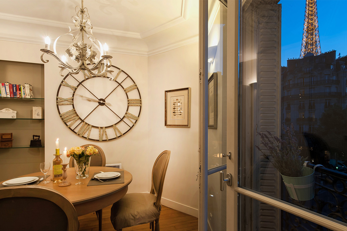 Enjoy stunning views of the Eiffel Tower from the kitchen of the Volnay vacation rental