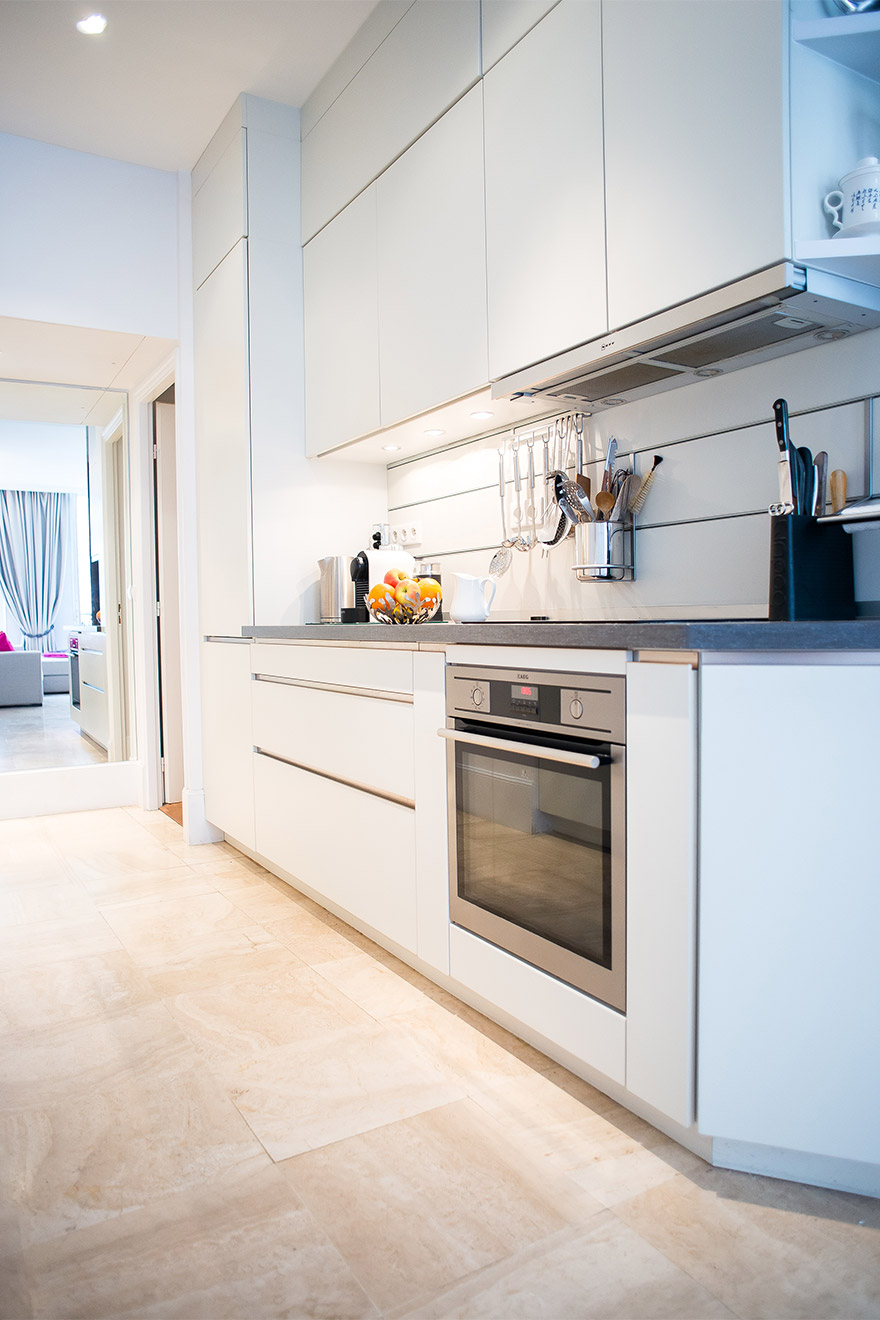 Modern kitchen equipped with everything in the Bel-Air vacation rental offered by Paris Perfect
