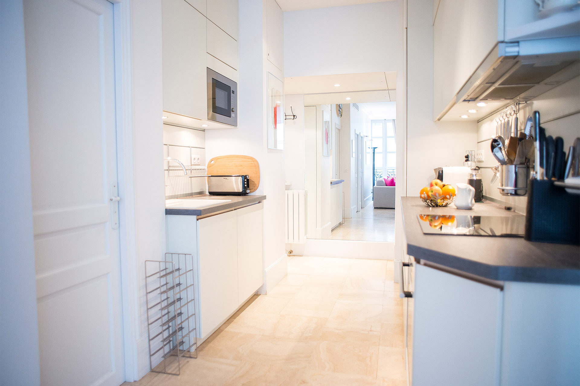 Walk through kitchen in the Bel-Air vacation rental offered by Paris Perfect