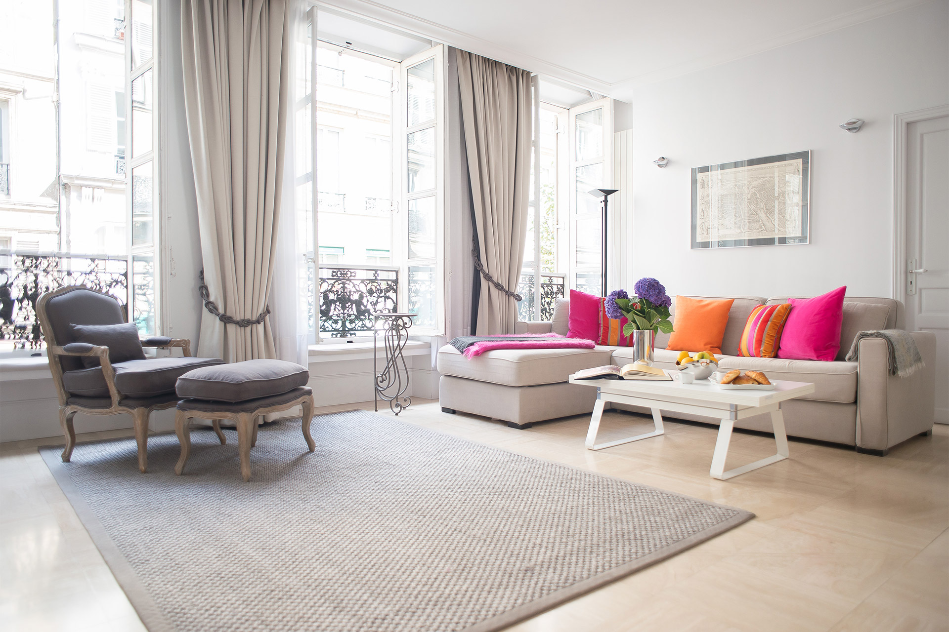 Stylish Living Room of the Bel-Air vacation rental offered by Paris Perfect