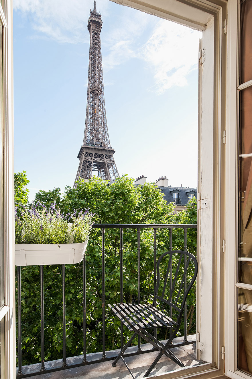 Amazing Eiffel Tower views from the balcony of the Bergerac vacation rental offered by Paris Perfect