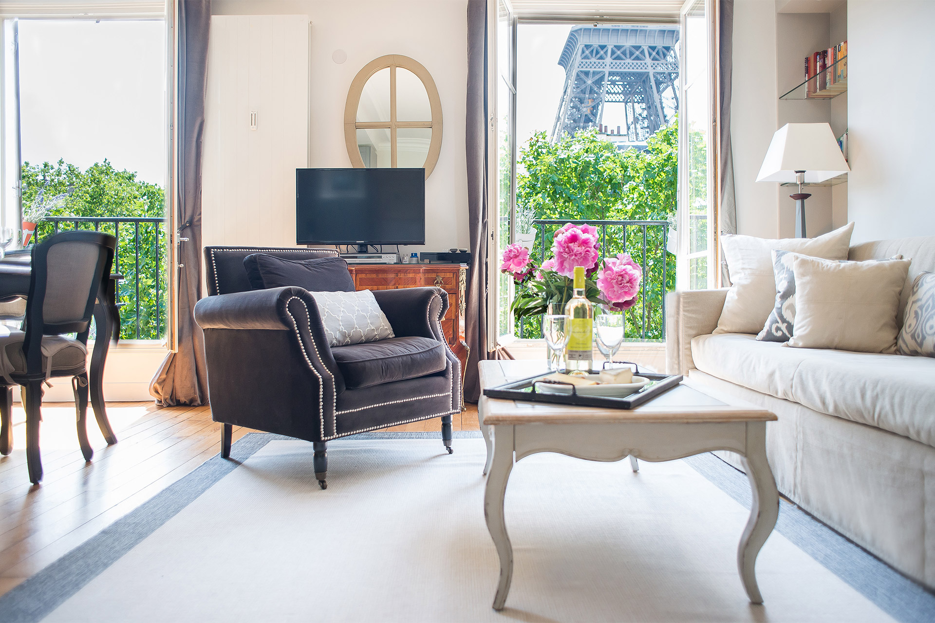 View of the Eiffel Tower from the living room armchair in the Bergerac vacation rental