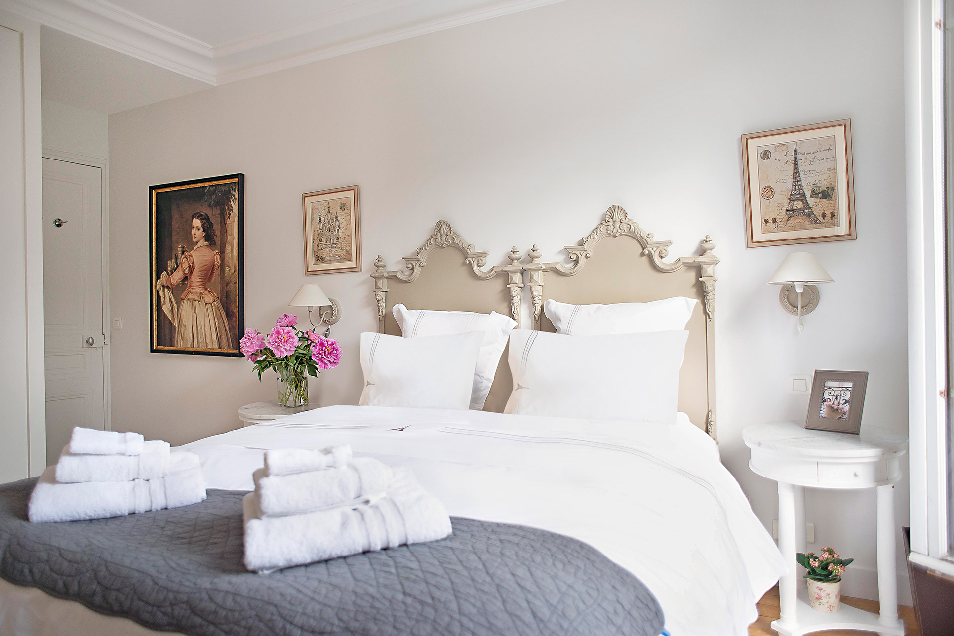 Elegant French decor in the the master bedroom of the Bergerac vacation rental offered by Paris Perfect