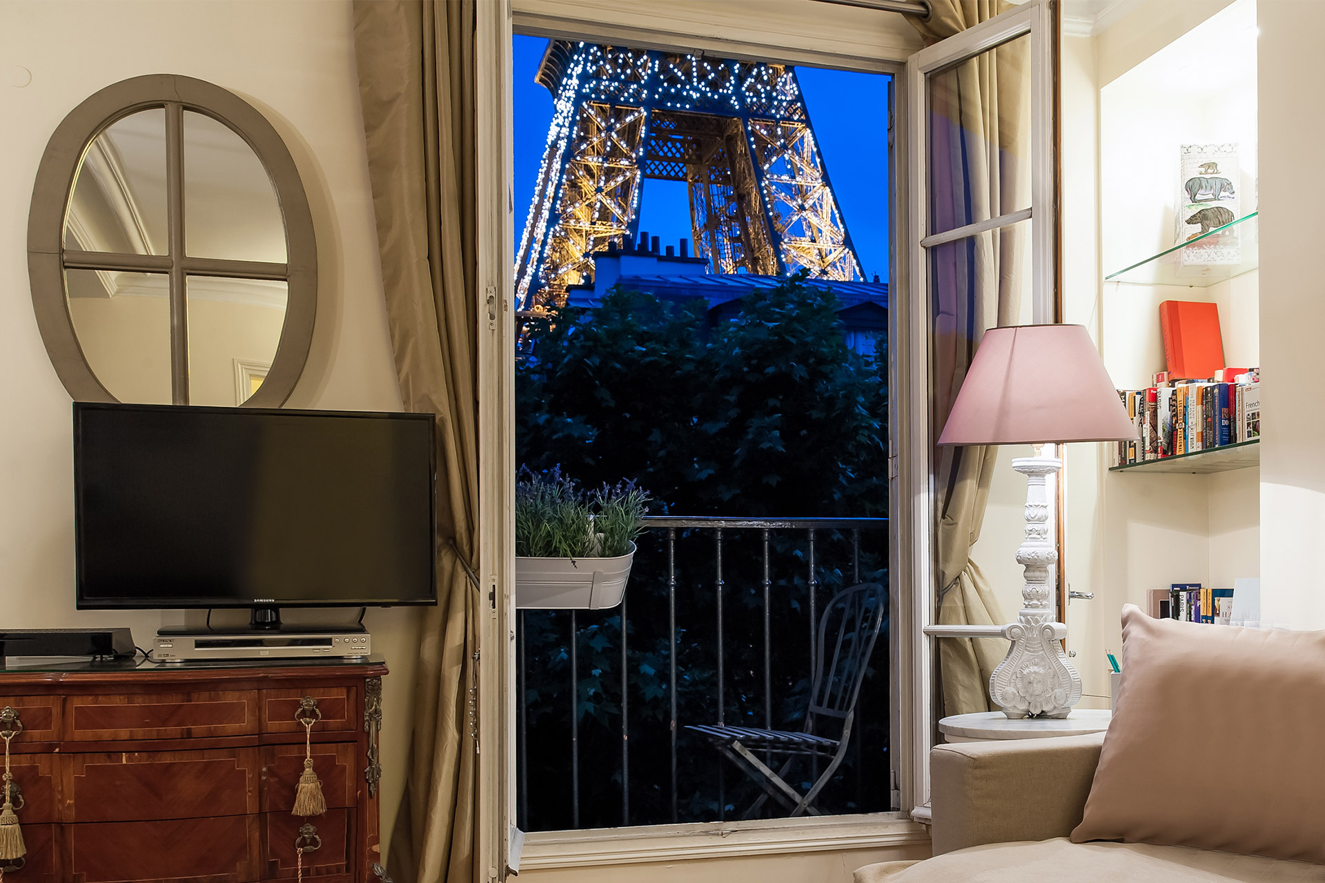Eiffel Tower view at night from the Bergerac vacation rental offered by Paris Perfect