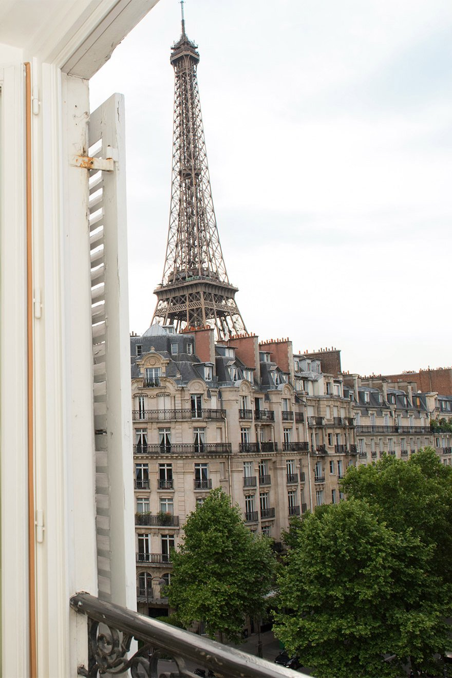 Amazing Eiffel Tower views from the bedrooms of the Bordeaux vacation rental offered by Paris Perfect