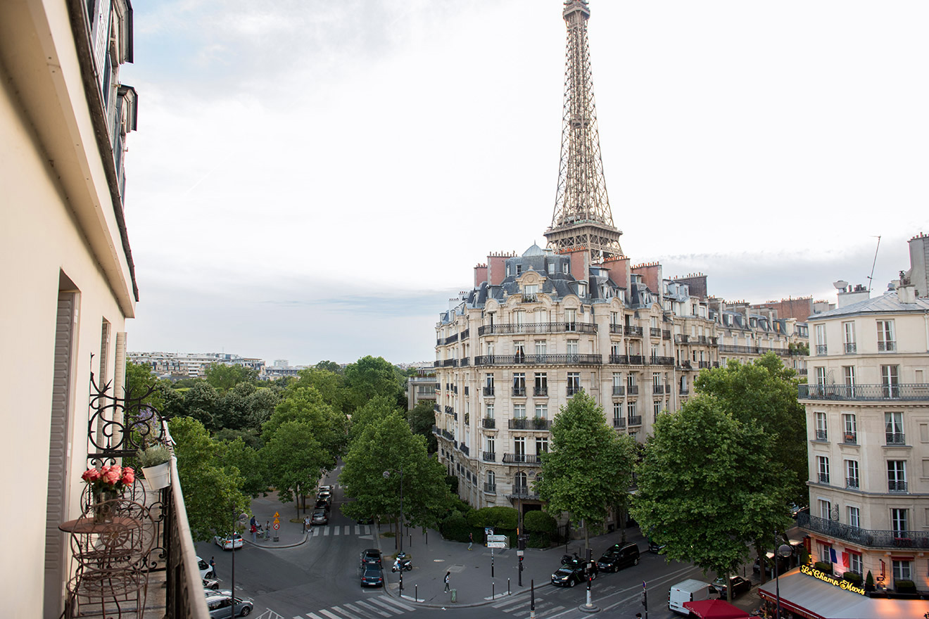 Eiffel Tower view from the balcony of the Bordeaux vacation rental offered by Paris Perfect