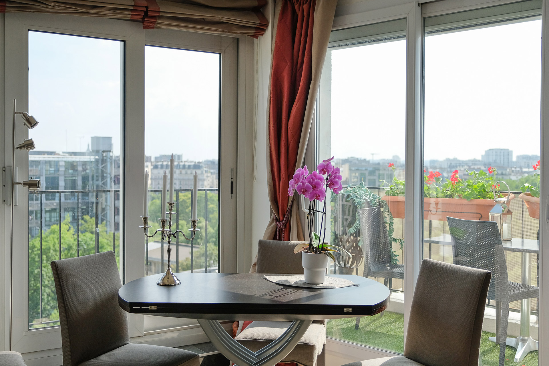 Spectacular views from the dining table at the Bordeneuve Paris Perfect vacation rental