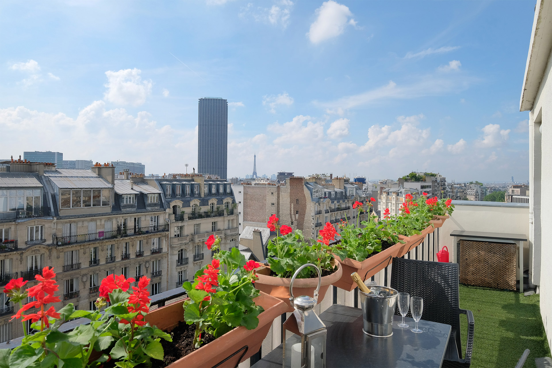 Expansive Paris views from the Bordeneuve terrace with Paris Perfect
