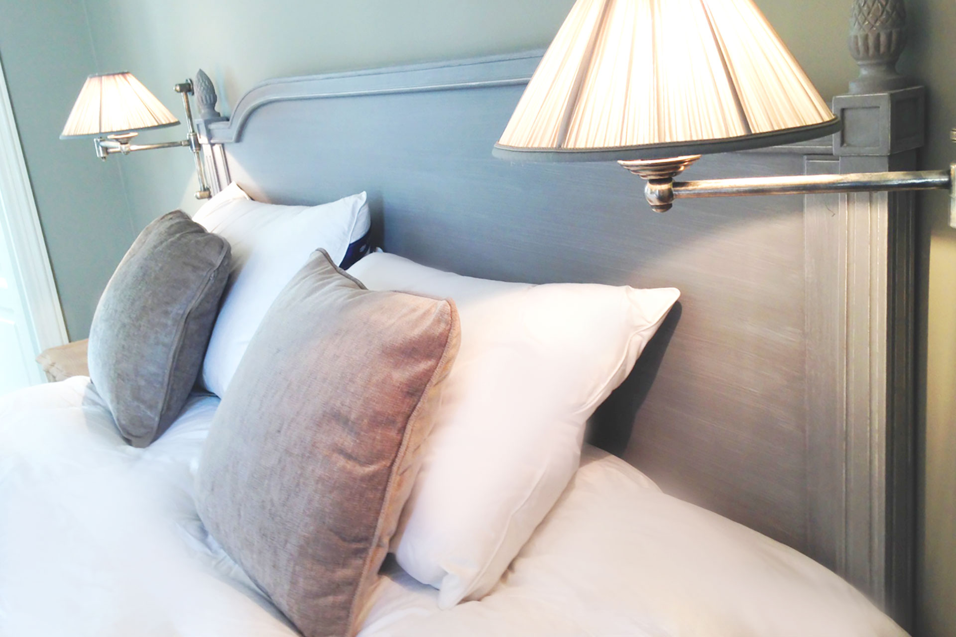 Luxurious bedding in the bedroom at the Bourgogne Paris Perfect rental