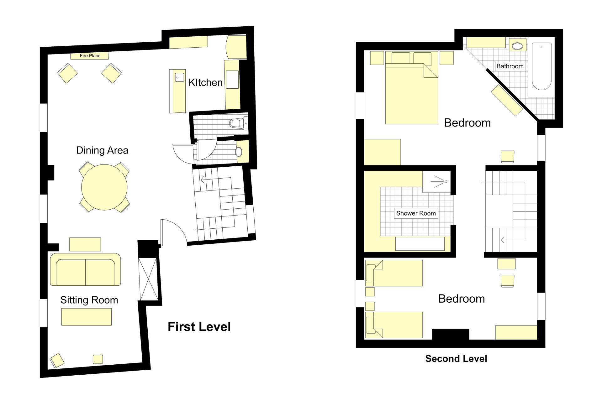 Floorplan of the Brittany vacation rental offered by Paris Perfect