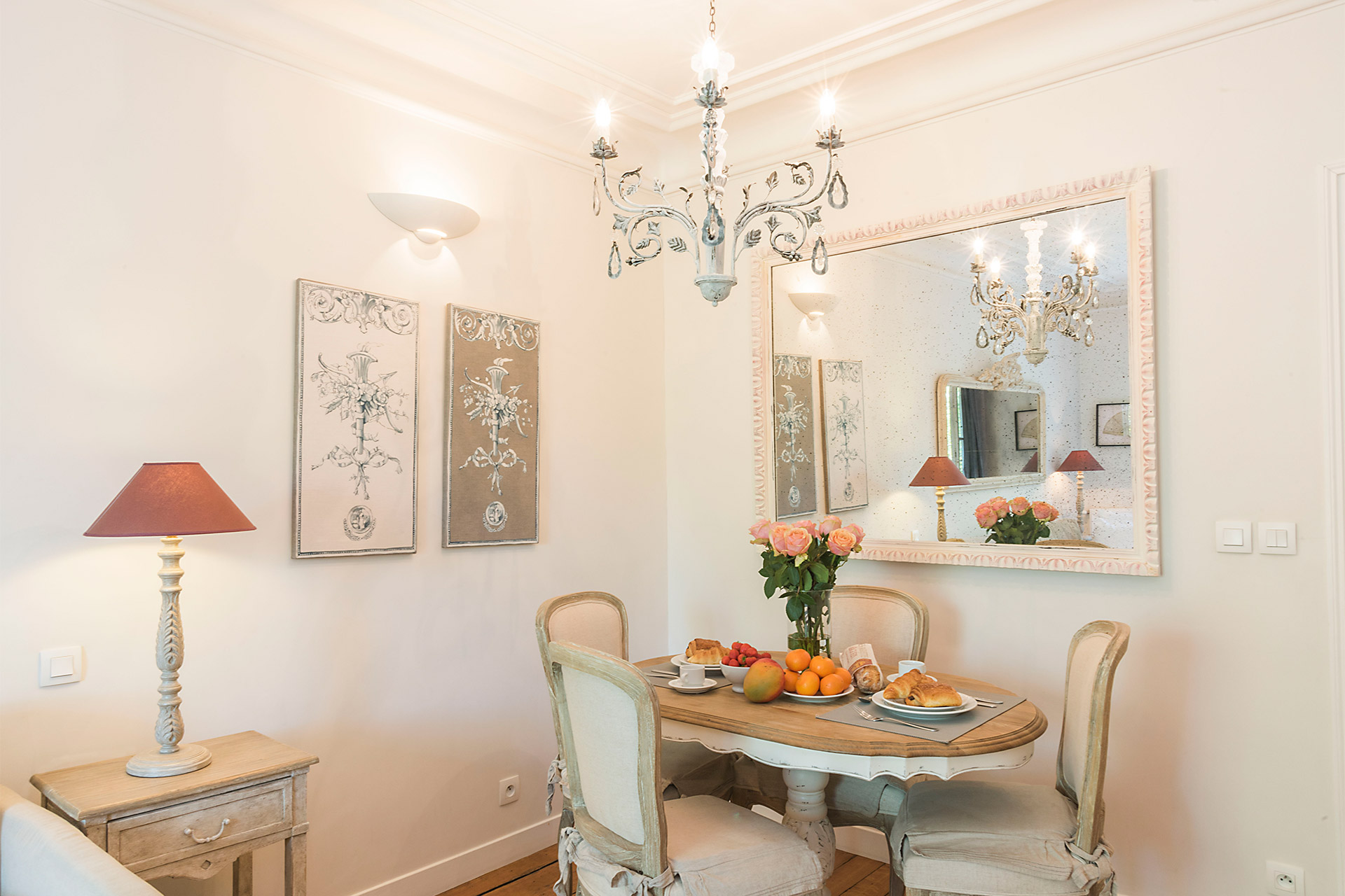 Elegant dining area of the Calvados vacation rental offered by Paris Perfect