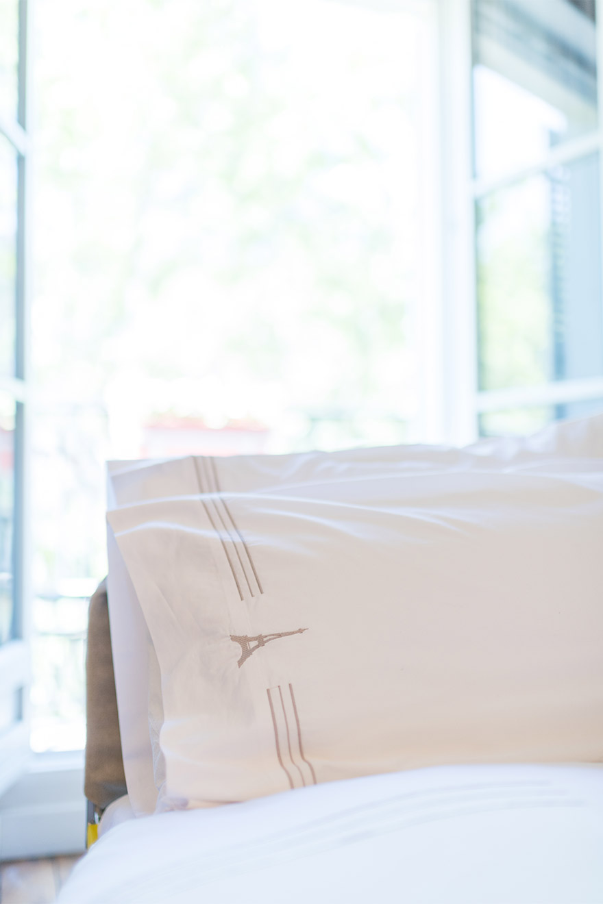 Top quality custom linens in the Calvados vacation rental offered by Paris Perfect