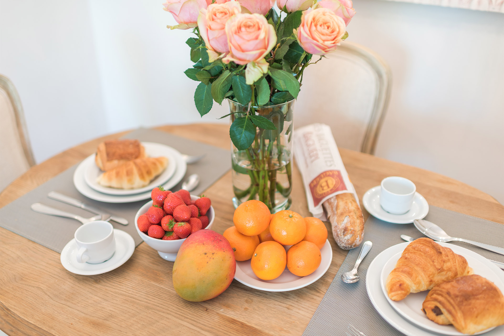 Delicious breakfast in the Calvados vacation rental offered by Paris Perfect