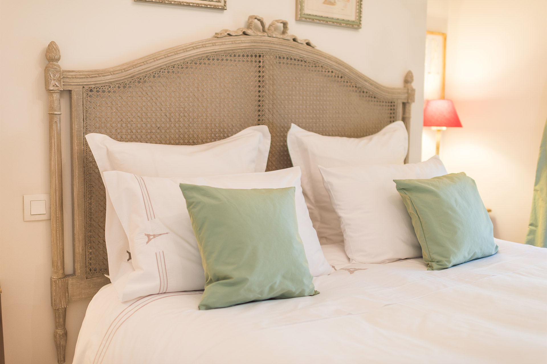 Comfortable bedding in the Calvados vacation rental offered by Paris Perfect
