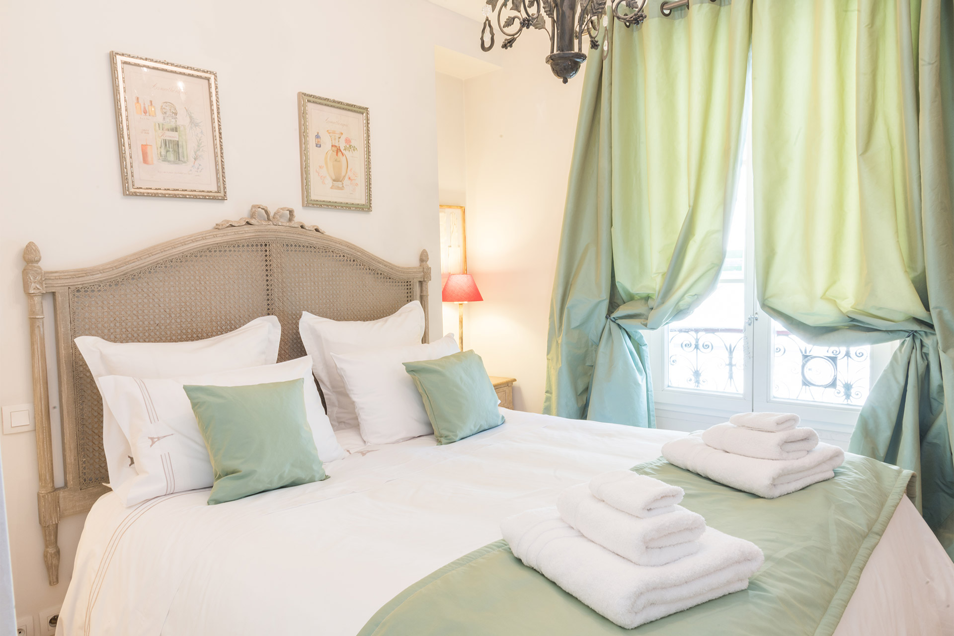 Beautifully decorated bedroom of the Calvados vacation rental offered by Paris Perfect