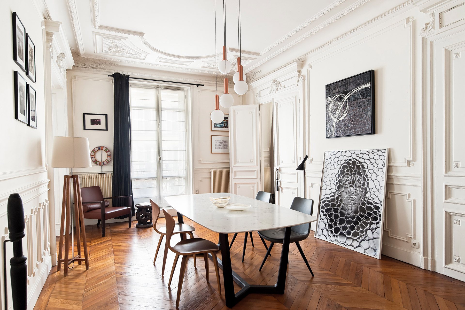 Stunning dining room in the heart of the home in the Cavailles Paris rental