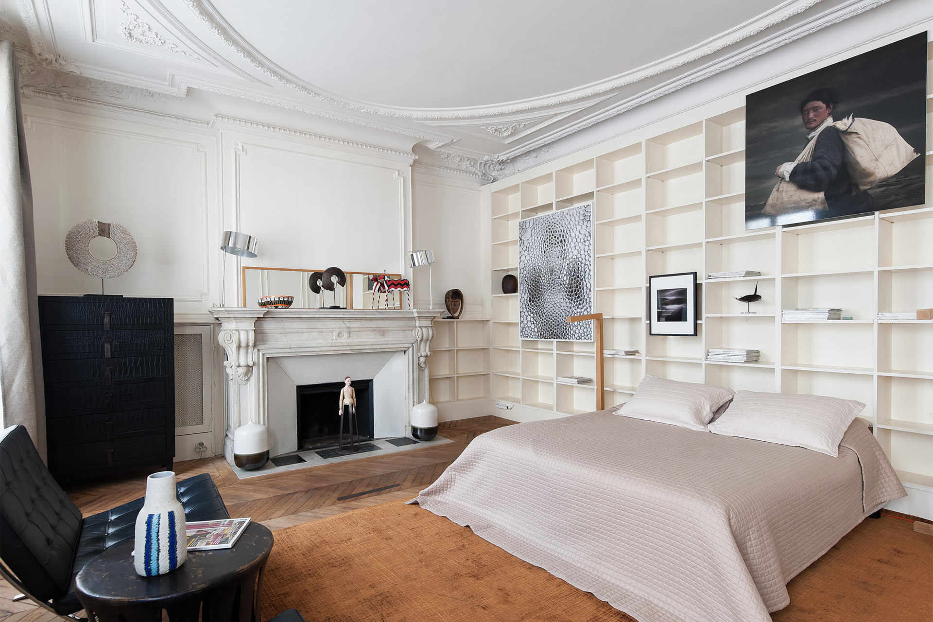 Stunning bedroom two with large French windows in the Cavailles Paris Perfect apartment