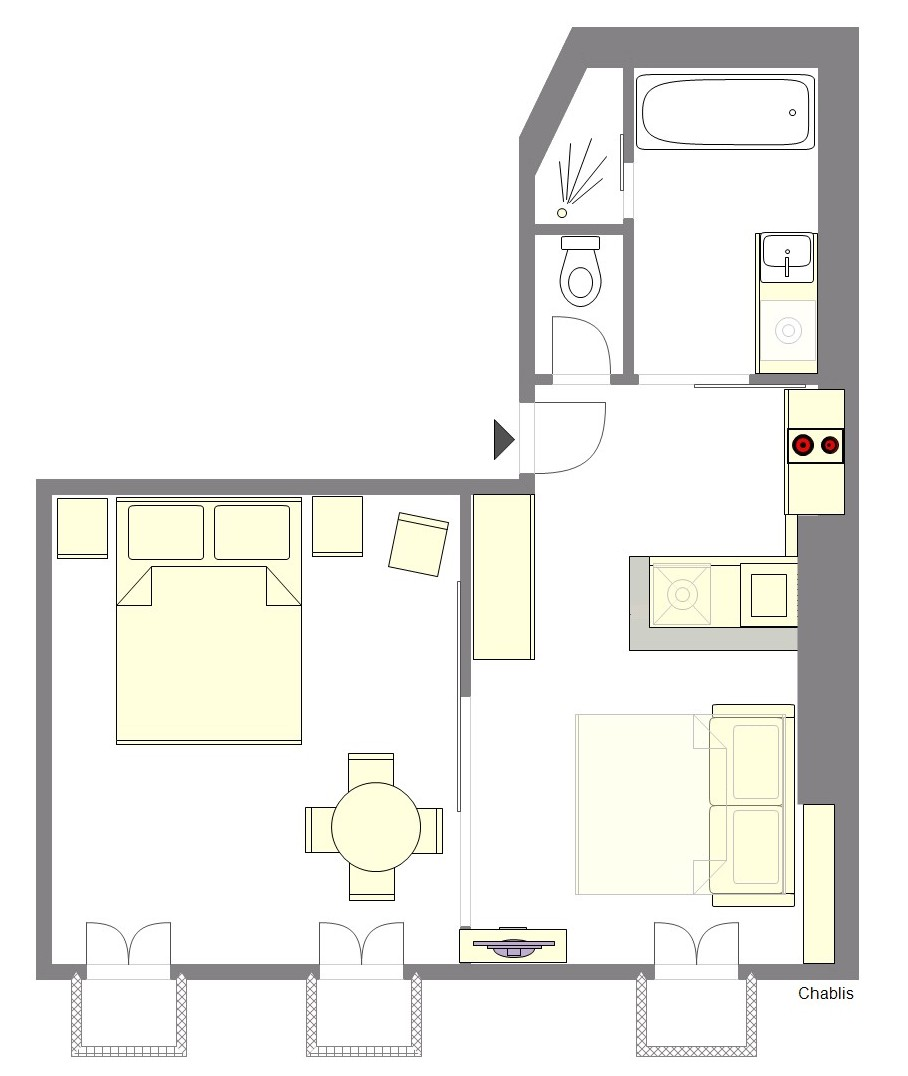 Studio/one-bedroom Paris Apartment Layout