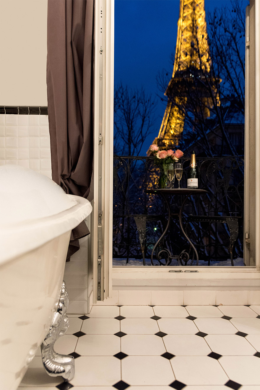 Magical view from your bathtub in the Chambertin vacation rental offered by Paris Perfect