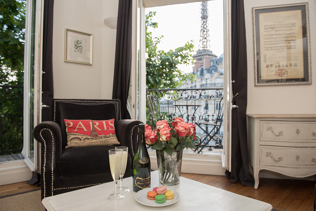 Stunning Eiffel Tower view through large French windows in the Champagne vacation rental