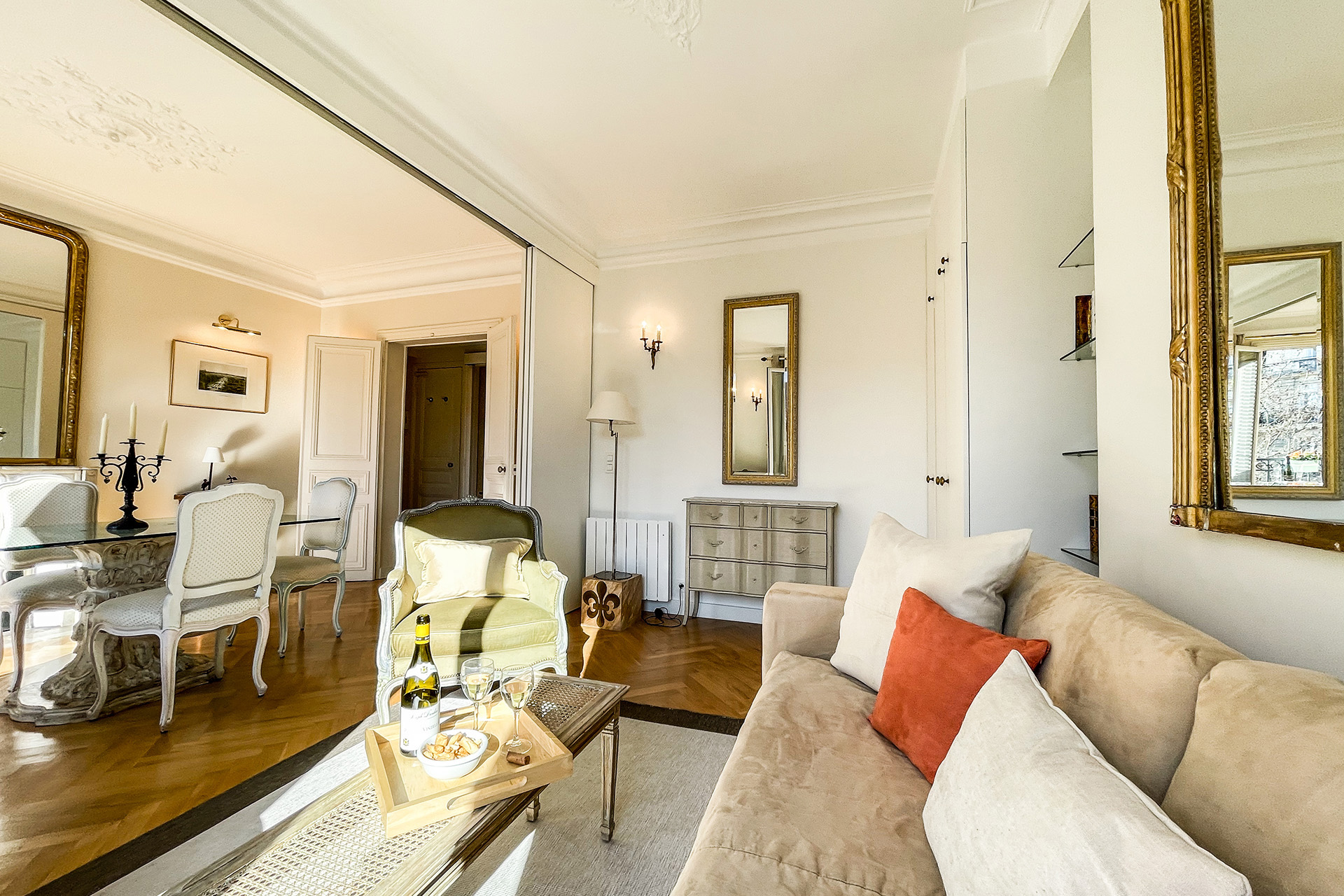 The living and dining rooms can be separated by sliding doors.
