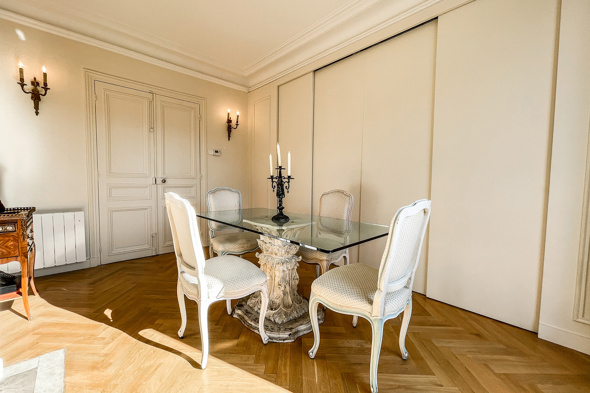 Slide the doors for additional privacy in the dining room.