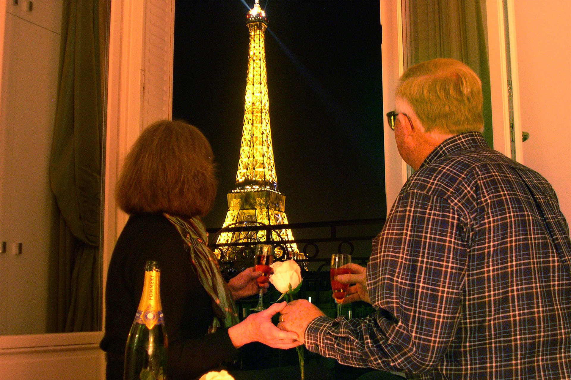 Champagne Toast with Eiffel Tower view in the Chateau Latour vacation rental offered by Paris Perfect