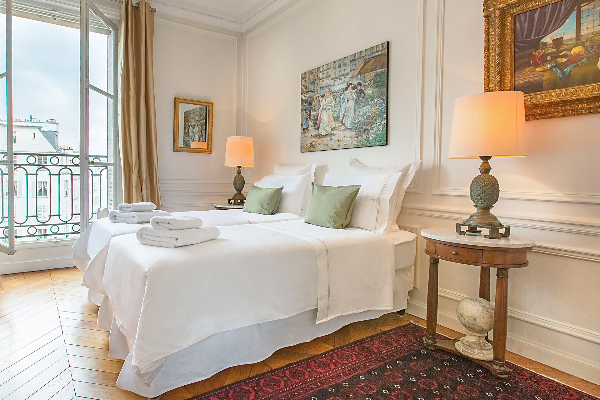 Beautiful decor in the second bedroom of the Chateauneuf vacation rental offered by Paris Perfect