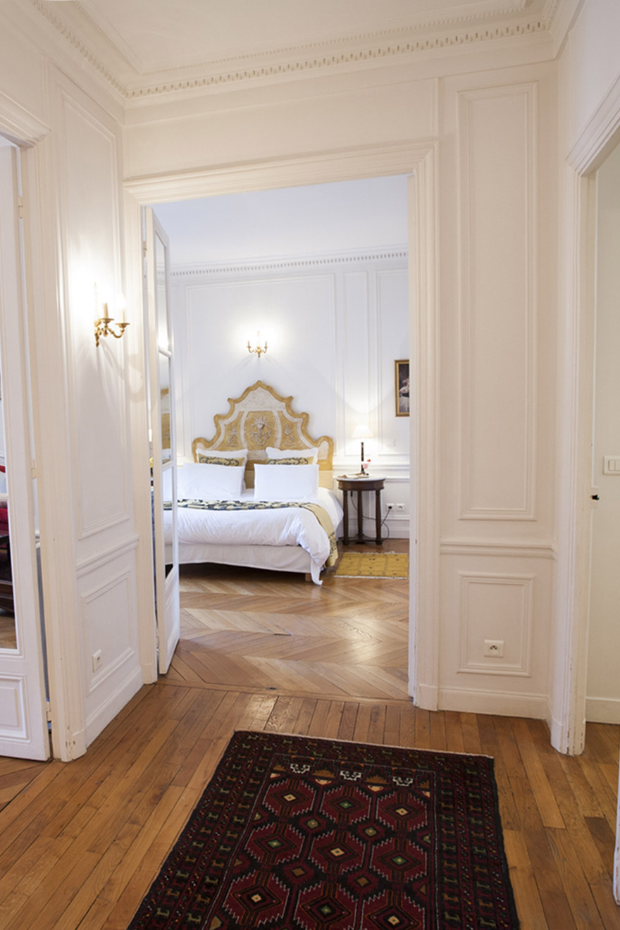 Entrance to the master bedroom of the Chateauneuf vacation rental offered by Paris Perfect
