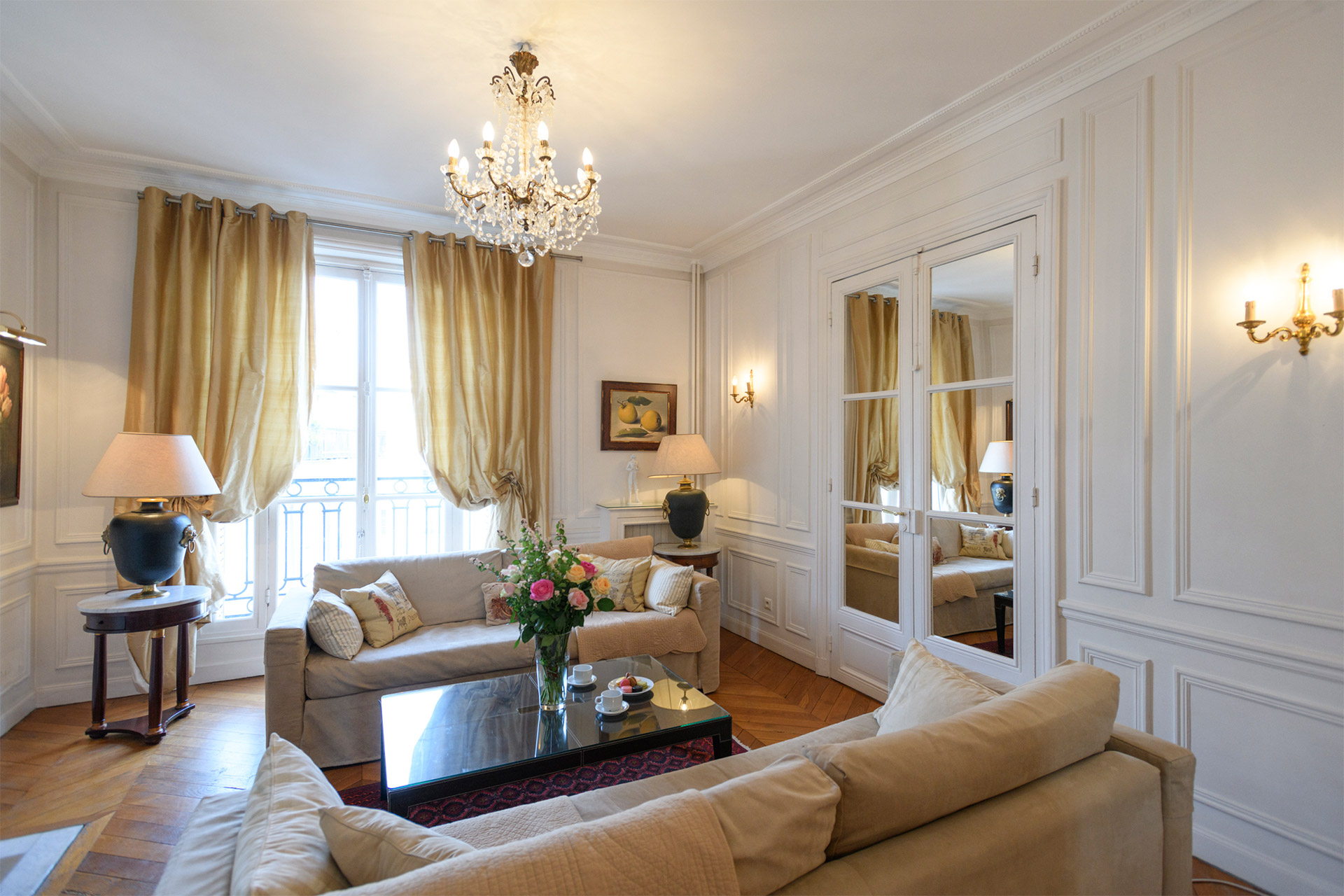 Elegant and comfortable living room of the Chateauneuf vacation rental offered by Paris Perfect