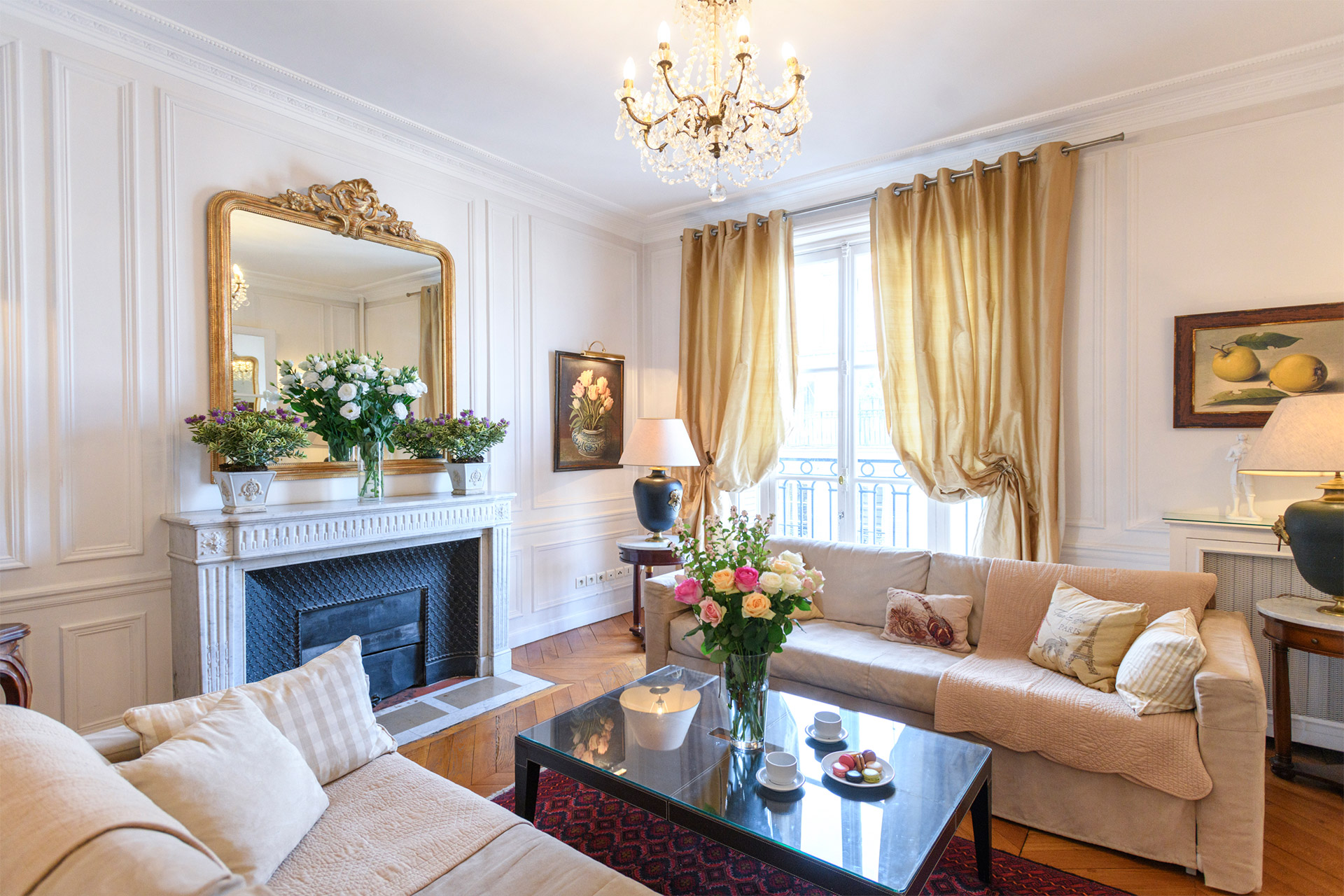 Living room French windows in the Chateauneuf vacation rental offered by Paris Perfect