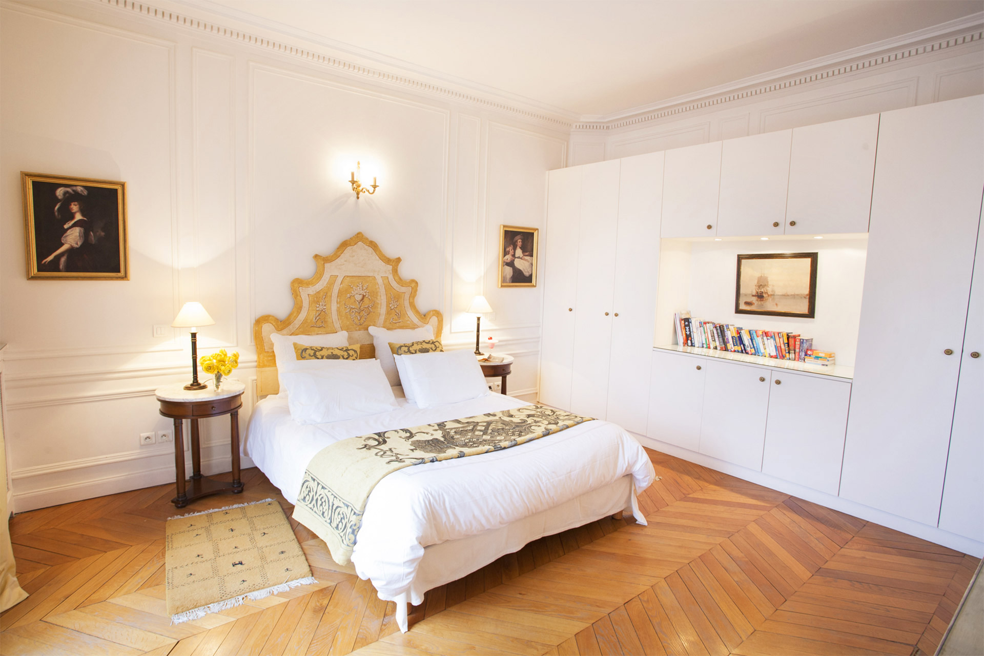 Gracious master bedroom with queen bed in the Chateauneuf vacation rental offered by Paris Perfect