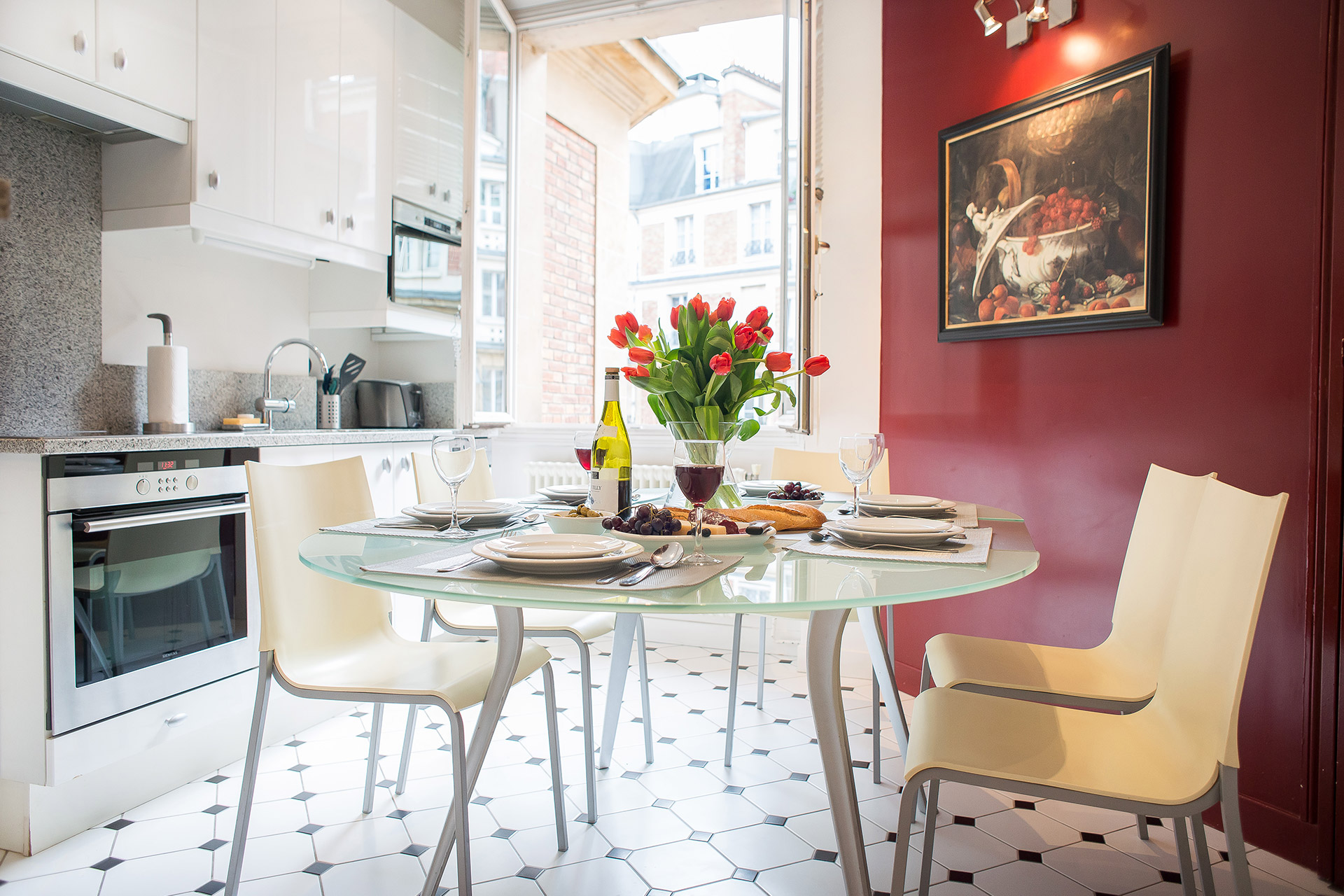 Enjoy elegant meals or casual gatherings in the dining area of the Chateauneuf vacation rental