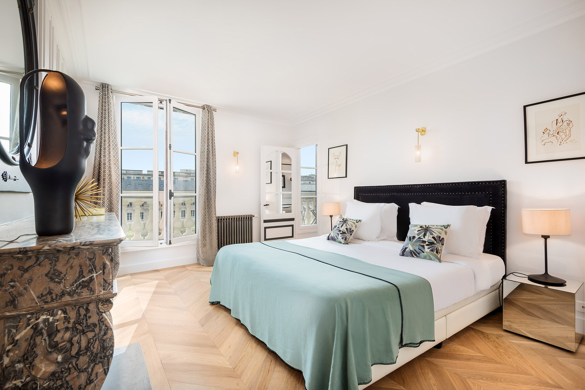 Large bedroom 1 in the Chevalier vacation rental by Paris Perfect