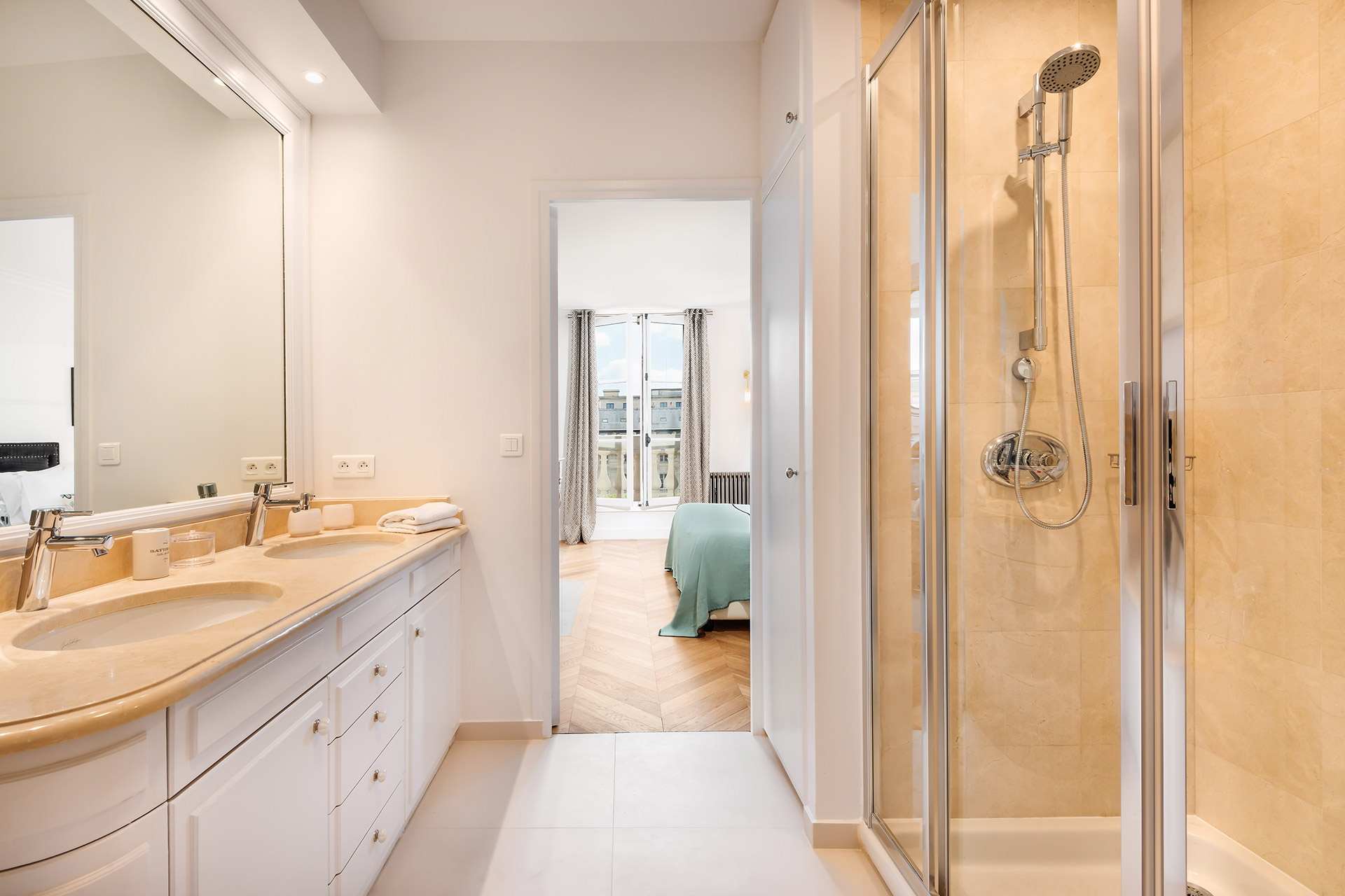 Bathroom 1 shower in the Chevalier vacation rental by Paris Perfect