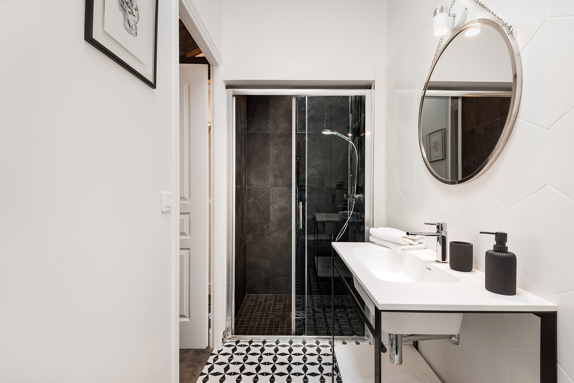 Modern bathroom 3 in the Chevalier vacation rental by Paris Perfect